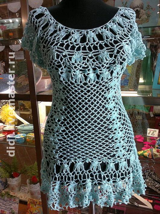 """Пляжные платья ручной работы. Ярмарка Мастеров - ручная работа. Купить платье-туника""""Голубая мечта"""". Handmade. Ажурное платье, лён"""