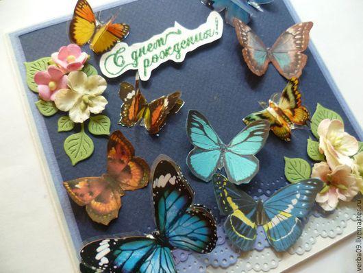 """Открытки на день рождения ручной работы. Ярмарка Мастеров - ручная работа. Купить Открытка """" Полет бабочек"""". Handmade. бабочки"""