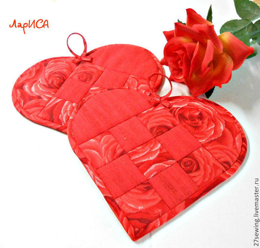 """Кухня ручной работы. Ярмарка Мастеров - ручная работа. Купить Прихватки """"От всего сердца"""". Handmade. Ярко-красный, валентинка"""