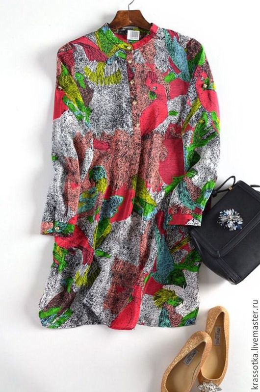 Платья ручной работы. Ярмарка Мастеров - ручная работа. Купить Платье-туника. Райские птицы шелковое. Handmade. Комбинированный