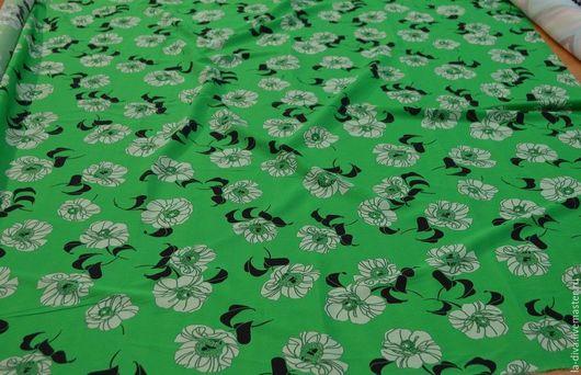 Шитье ручной работы. Ярмарка Мастеров - ручная работа. Купить Итальянский шелк с цветочным принтом на зеленом фоне. Handmade. Зеленый