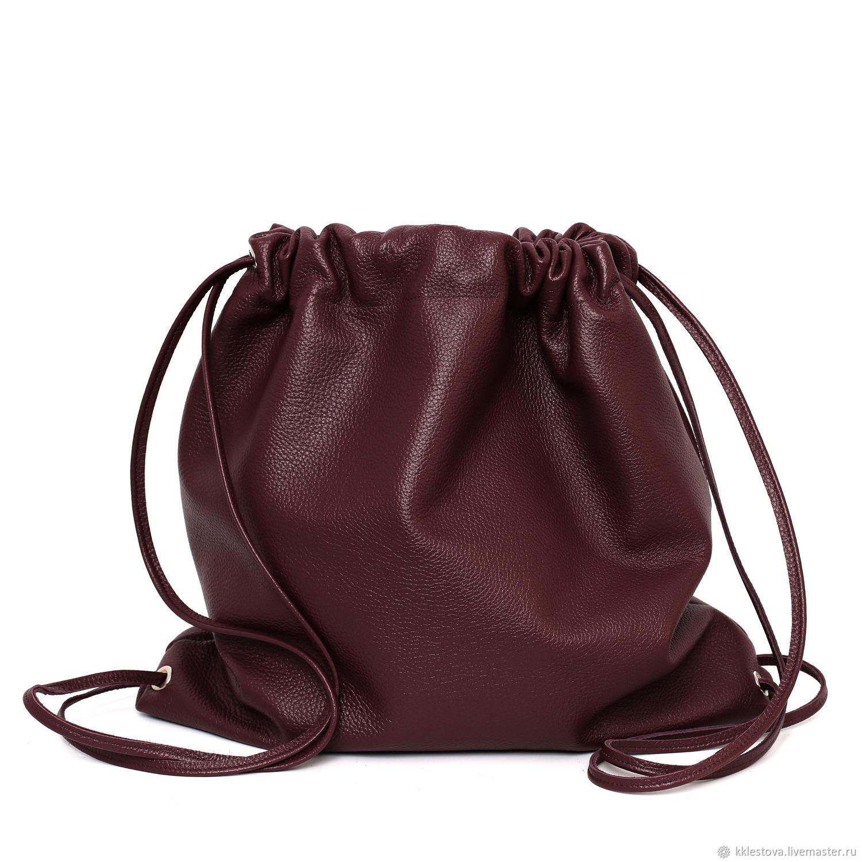 ff71332935b7 Order Burgundy soft Leather backpack bag medium Marsala cherry.  BagsByKaterinaKlestova.