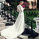 Одежда и аксессуары ручной работы. Ярмарка Мастеров - ручная работа. Купить Свадебное платье с длинным шлейфом. Handmade. Цветочный