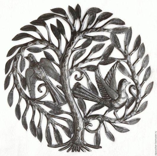 Элементы интерьера ручной работы. Ярмарка Мастеров - ручная работа. Купить Большое дерево с двумя птицами, ручная работа резьба по металлу, 38 см. Handmade.
