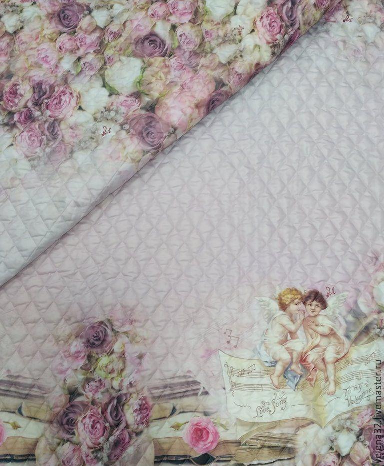 """Шитье ручной работы. Ярмарка Мастеров - ручная работа. Купить Курточная ткань """"Амуры"""". Handmade. Розовый, стеганая куртка"""