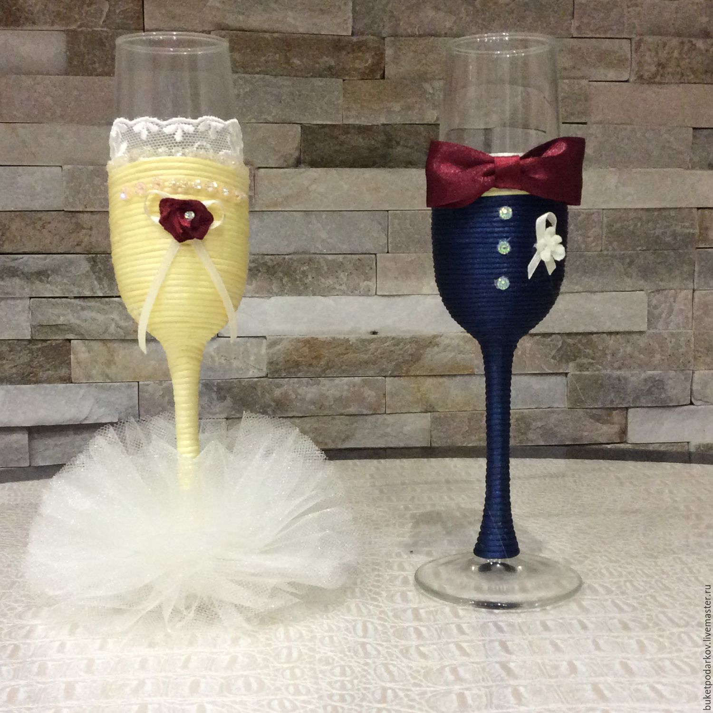 """Купить Свадебные бутылки """" Жених и невеста"""" - бордовый, свадебный декор, бутылки свадебные"""
