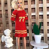 Одежда для кукол ручной работы. Ярмарка Мастеров - ручная работа Модное вязанное платье для барби, барби пышки. Handmade.