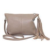 Сумки и аксессуары handmade. Livemaster - original item Beige leather Bag with shoulder strap Crossbody Taupe. Handmade.