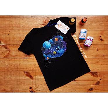 Clothing handmade. Livemaster - original item T-shirt with hand-painted space URSA Major. Handmade.