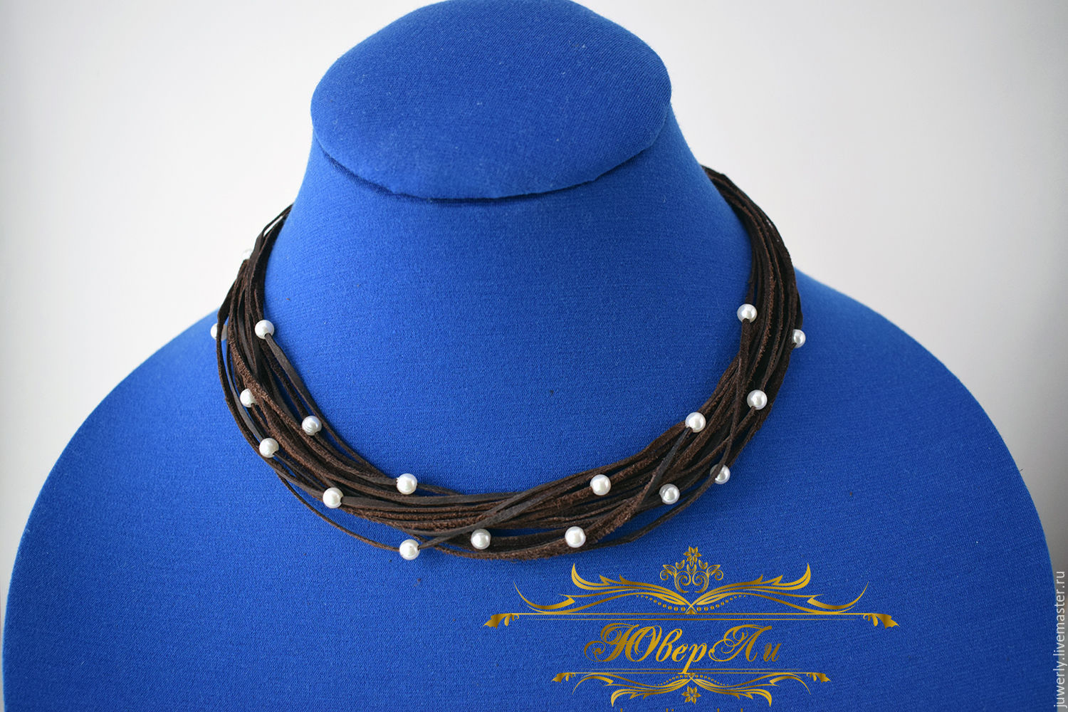 Necklace leather brown 'Pearl dust', Necklace, Minsk,  Фото №1