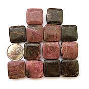 Материалы для творчества ручной работы. Ярмарка Мастеров - ручная работа Родонит 14 камней набор бусины квадратные розовый коричневый. Handmade.