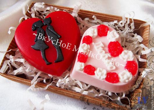 """Мыло ручной работы. Ярмарка Мастеров - ручная работа. Купить Подарочный набор """"Люблю!"""". Handmade. Сердце, влюбленная парочка"""