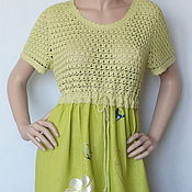 Dresses handmade. Livemaster - original item Dress cotton-linen-silk