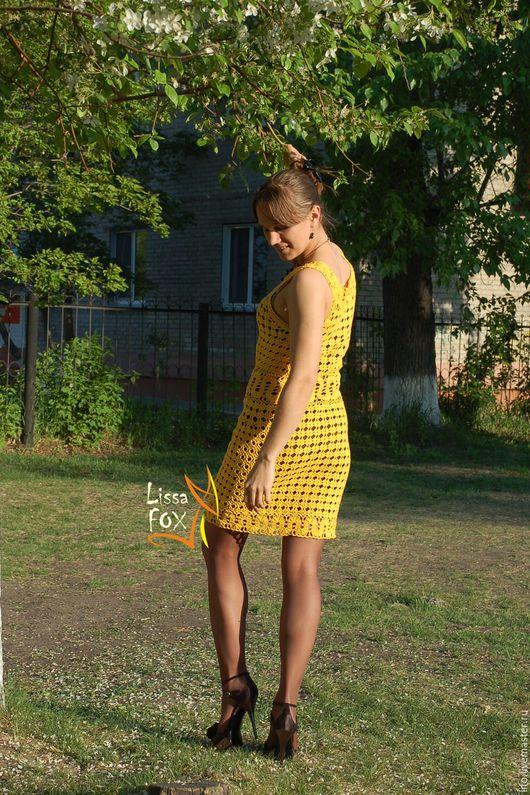 """Платья ручной работы. Ярмарка Мастеров - ручная работа. Купить Вязанное платье """"Летний блюз"""". Handmade. Желтый, женское платье"""