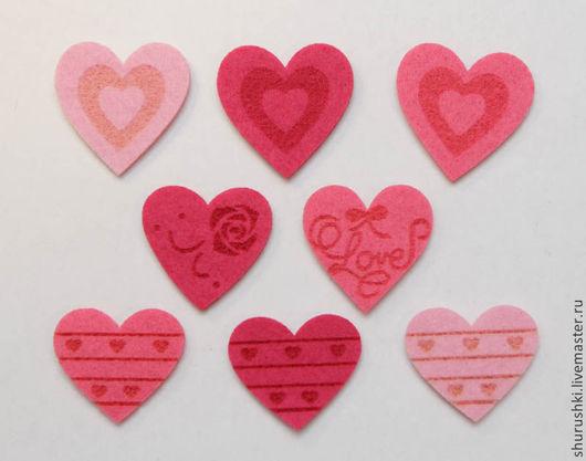 Валяние ручной работы. Ярмарка Мастеров - ручная работа. Купить Сердечки из фетра. Handmade. Розовый, сердечки, валентинов день