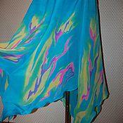 """Одежда ручной работы. Ярмарка Мастеров - ручная работа Шелковая длинная юбка,треугольными клиньями """"Бирюза"""" батик. Handmade."""