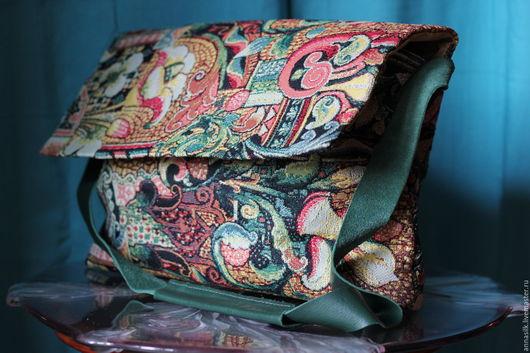 Женские сумки ручной работы. Ярмарка Мастеров - ручная работа. Купить Сумка гобеленовая. Handmade. Тёмно-зелёный, гобеленовая ткань
