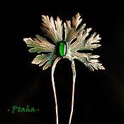 Украшения ручной работы. Ярмарка Мастеров - ручная работа гребень с зеленой каплей. Handmade.