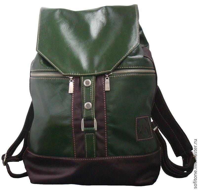 8c3b827d6e8c Рюкзаки ручной работы. Ярмарка Мастеров - ручная работа. Купить Рюкзак  городской кожаный Зеленый с ...