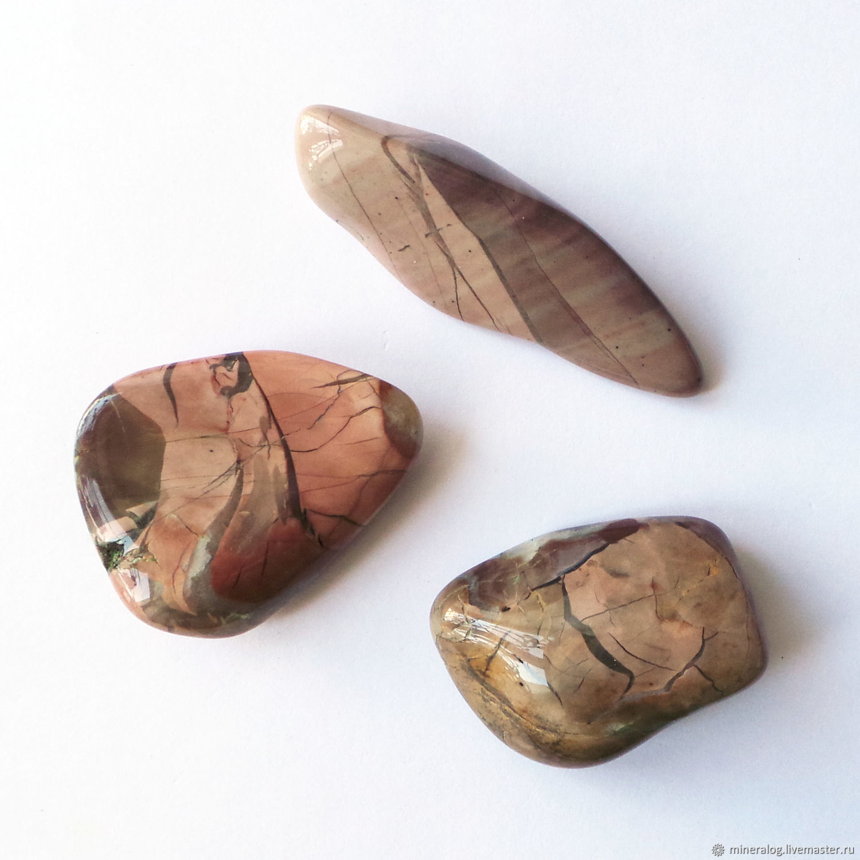 Яшма пёстрая уральская, натуральные окатанные продолговатые камни, Минералы, Москва,  Фото №1
