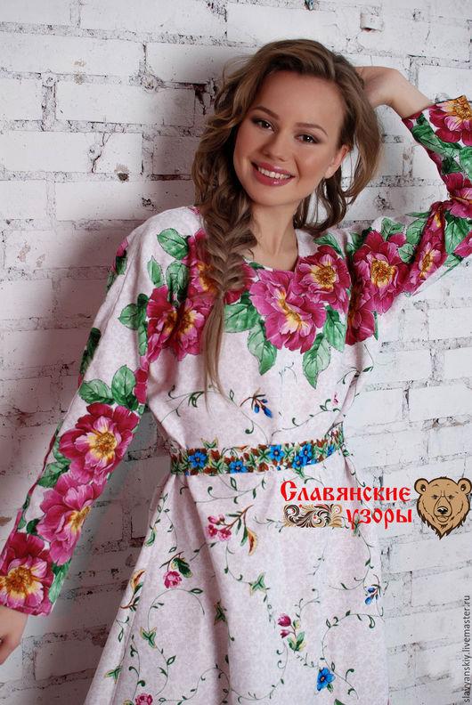 """Платья ручной работы. Ярмарка Мастеров - ручная работа. Купить Платье """"Любомила"""". Handmade. Белый, платье с длинным рукавом, с цветами"""