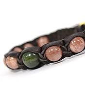 Украшения handmade. Livemaster - original item Shamballa bracelet made of leather with sun stone and jade. Handmade.