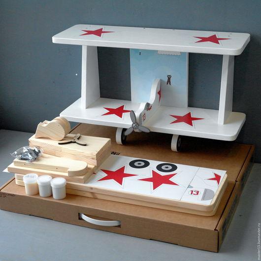 """Детская ручной работы. Ярмарка Мастеров - ручная работа. Купить Полка для книг """"Самолёт"""" (набор с наклейками и красками) 60см белый. Handmade."""