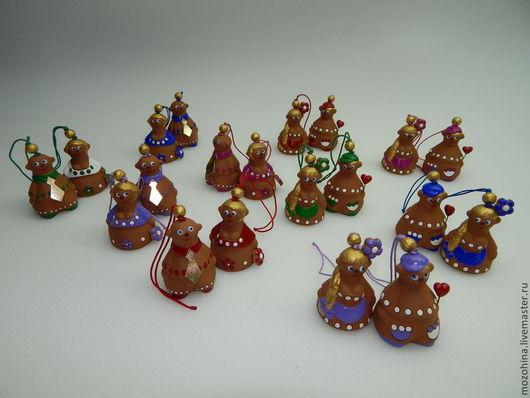 Колокольчики ручной работы. Ярмарка Мастеров - ручная работа. Купить Мальчики+девочки). Handmade. Разноцветный, колокольчики керамические, парочка, горошек