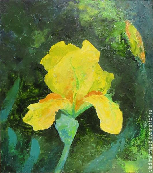 Картины цветов ручной работы. Ярмарка Мастеров - ручная работа. Купить Ирис желтый. Handmade. Цветы, масло, подарок