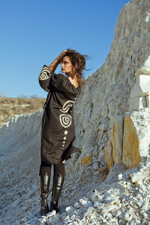 Ethnic Linen Dress «Black», Dresses, Rostov-on-Don,  Фото №1