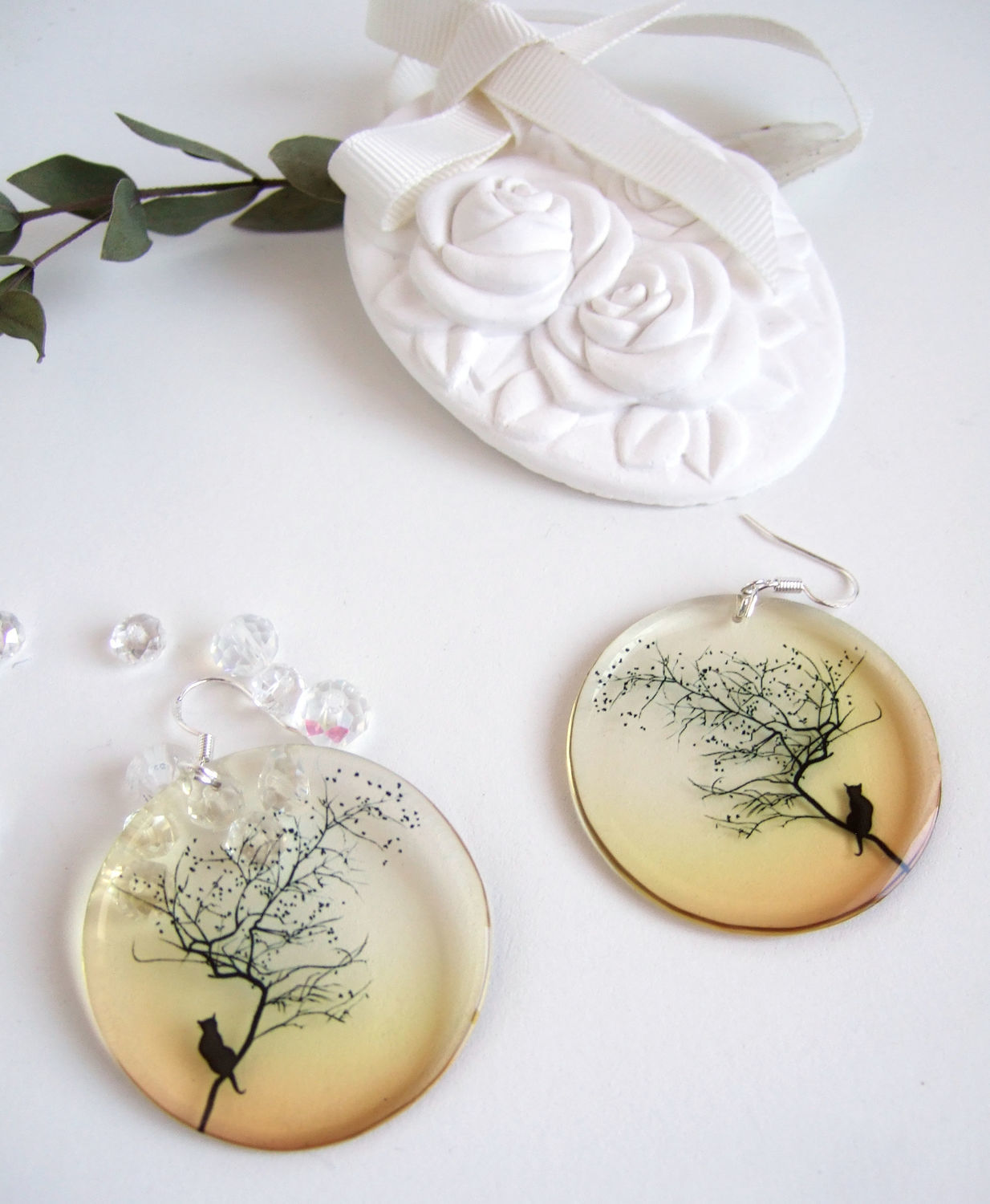 Transparent Earrings Resin Earrings cat and Moon Halloween, Earrings, Taganrog,  Фото №1