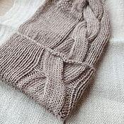 Аксессуары handmade. Livemaster - original item Knitting hat with a latte braid. Handmade.