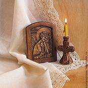 """Картины и панно ручной работы. Ярмарка Мастеров - ручная работа """"Ангел-хранитель"""" миниатюрная резная икона. Handmade."""