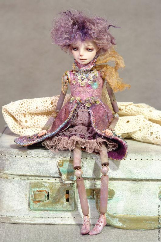 """Коллекционные куклы ручной работы. Ярмарка Мастеров - ручная работа. Купить """"Violet"""" авторская художественная кукла,смешанная техника, полностью р. Handmade."""