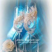 """Свадебный салон ручной работы. Ярмарка Мастеров - ручная работа Свадебные фужеры """"Лебеди"""" (3) французское стекло. Handmade."""