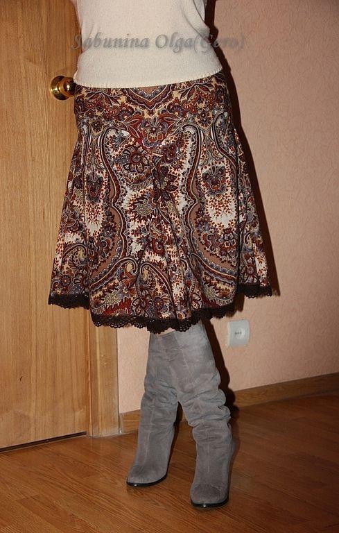 """Юбки ручной работы. Ярмарка Мастеров - ручная работа. Купить Юбка """"Чародейка"""" из Павловопосадского платка. Handmade. Коричневый, красивая одежда"""