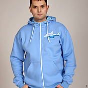 Одежда handmade. Livemaster - original item Blue zip-up sweatshirt, men`s hoodie, pockets. Handmade.