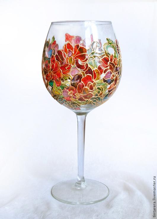 """Бокалы, стаканы ручной работы. Ярмарка Мастеров - ручная работа. Купить Бокалы """"Орхидеи"""". Handmade. Бокал, подарок, контур"""