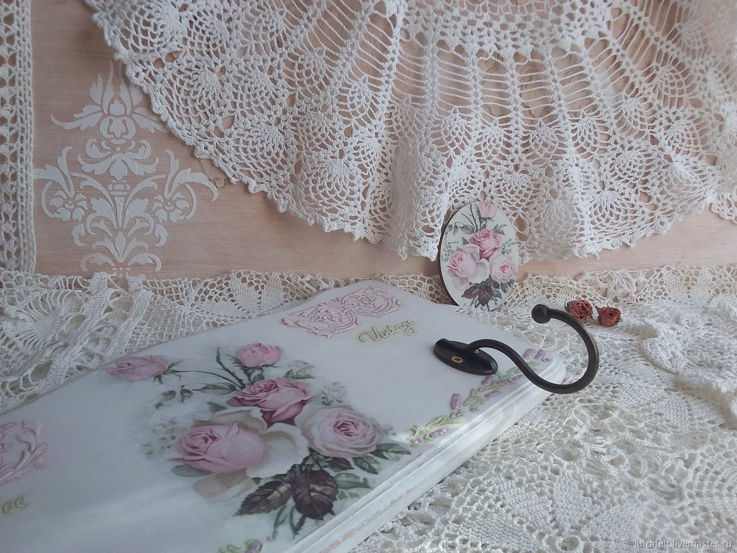 Wall hanger shabby chic, decoupage hanger, Clothes Hangers and Hooks, Kiev,  Фото №1