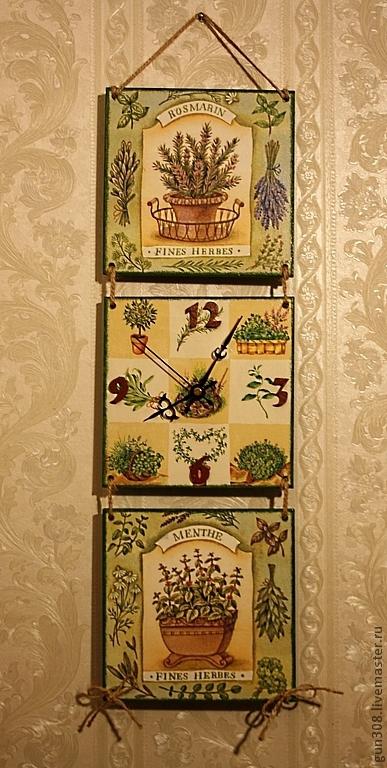 """Часы для дома ручной работы. Ярмарка Мастеров - ручная работа. Купить Часы-панно кухонные  """"Травы Прованса"""". Handmade. Зеленый"""