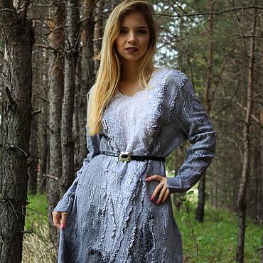 Одежда ручной работы. Ярмарка Мастеров - ручная работа Валяное платье Серебряный Дождь. Handmade.