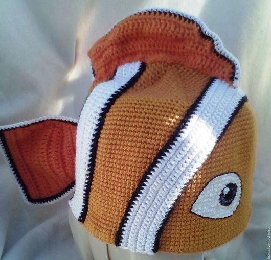 Детские карнавальные костюмы ручной работы. Ярмарка Мастеров - ручная работа. Купить вязаная маскарадная шапочка Рыбка-клоун. Handmade.