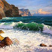 Картины и панно ручной работы. Ярмарка Мастеров - ручная работа Гигантская большая  картина с видом моря морская картина маслом. Handmade.
