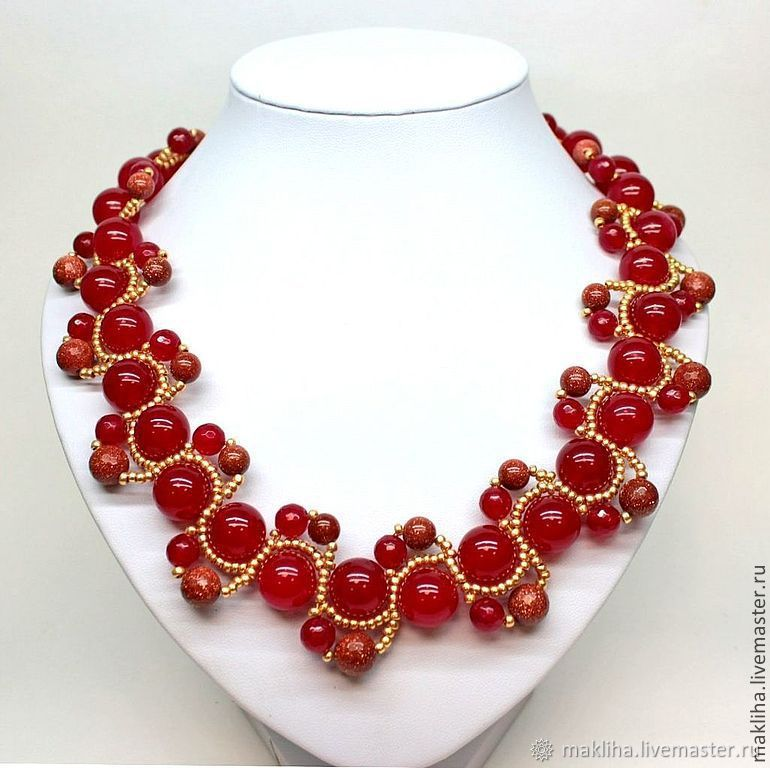 Krasnoe necklace made of natural stones and beaded 'Berry', Necklace, Moscow,  Фото №1