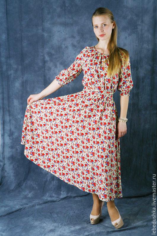 """Платья ручной работы. Ярмарка Мастеров - ручная работа. Купить Летнее платье """"Полюшко"""". Handmade. Комбинированный, платье на лето"""
