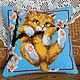 Текстиль, ковры ручной работы. Ярмарка Мастеров - ручная работа. Купить Подушка вышитая Котенок на ветке. Handmade. Вышивка крестом