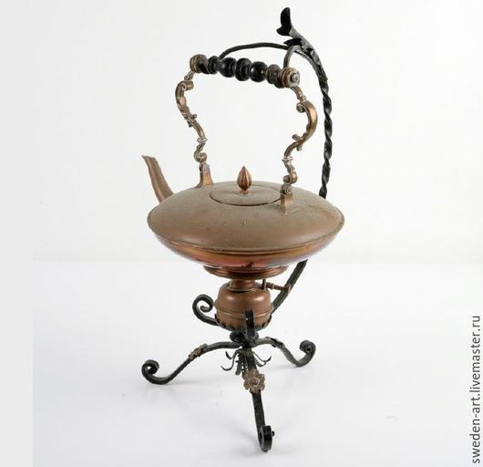 Винтажная посуда. Ярмарка Мастеров - ручная работа. Купить выст экз Медный чайник бульотка 1930-40 с цветочками из Швеции. Handmade.