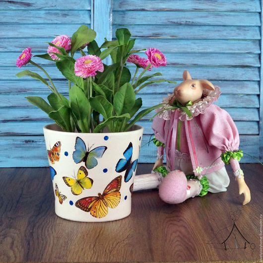 """Кашпо ручной работы. Ярмарка Мастеров - ручная работа. Купить Кашпо """" Бабочки и горохи"""". Handmade. Кашпо, дача, цветочный"""