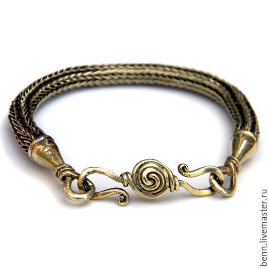 """Браслеты ручной работы. Ярмарка Мастеров - ручная работа. Купить Браслет """"Viking Knit"""" (бронзовый). Handmade. Браслет, исторический, для реконструктора"""