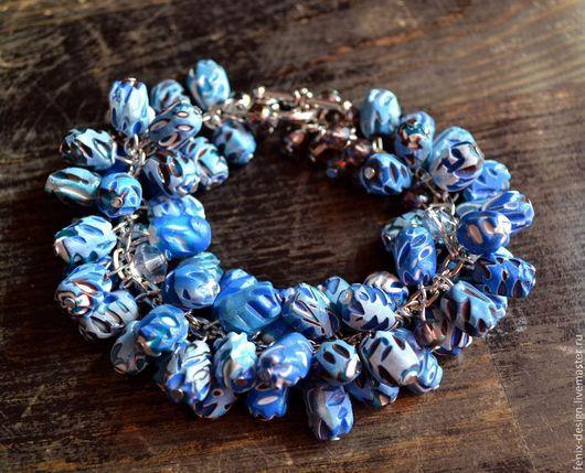 Браслеты ручной работы. Ярмарка Мастеров - ручная работа. Купить Синий браслет. Handmade. Синий, полимерная глина, браслет из пластики